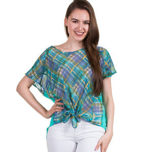 Tops - Checker Print Top With Tied Hem, Mint